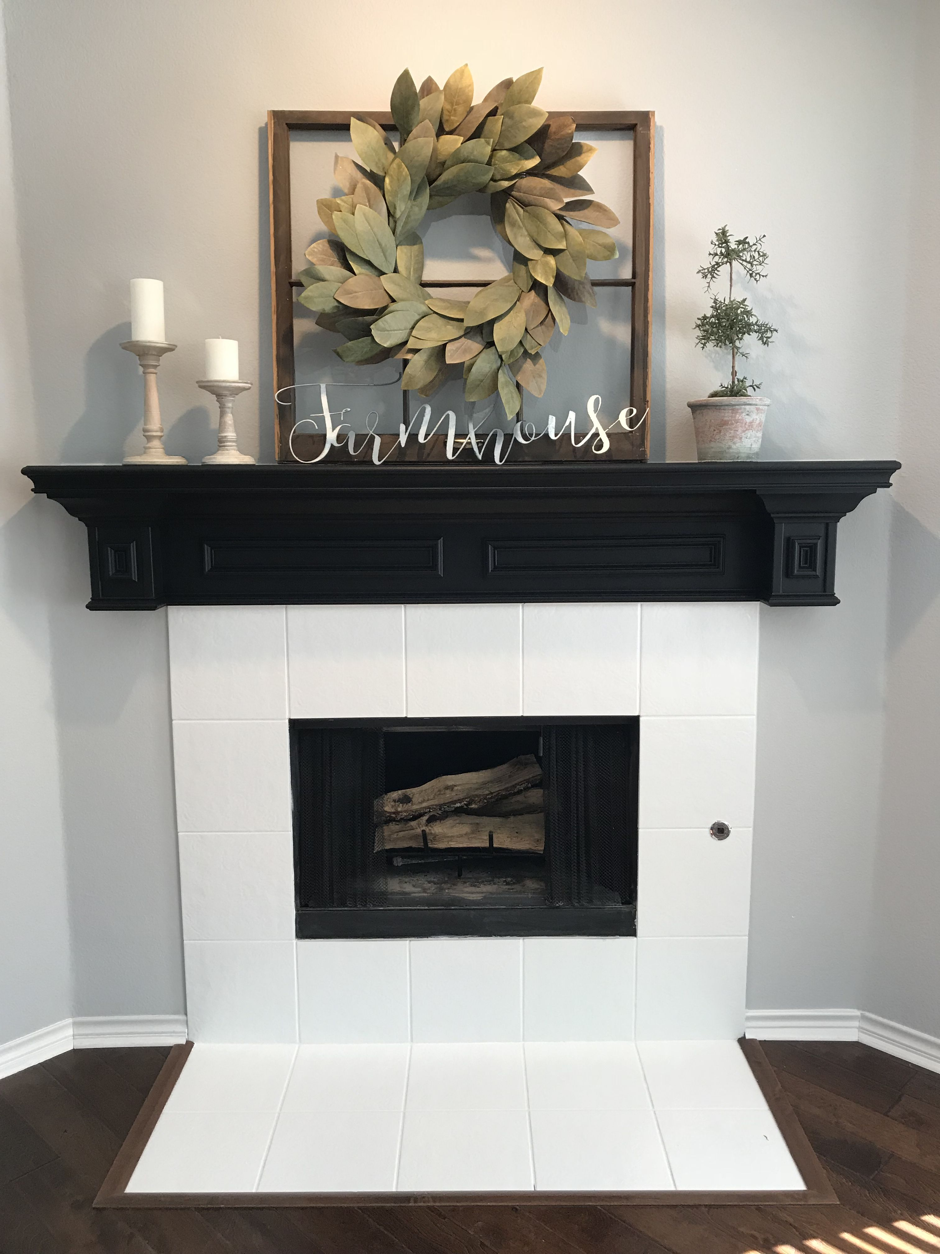 Painted Fireplace Tile I Used Advance Paint By Benjamin More The Mantel Is Painted In Ge Farmhouse Style Living Room Paint Fireplace Tile Fireplace Makeover