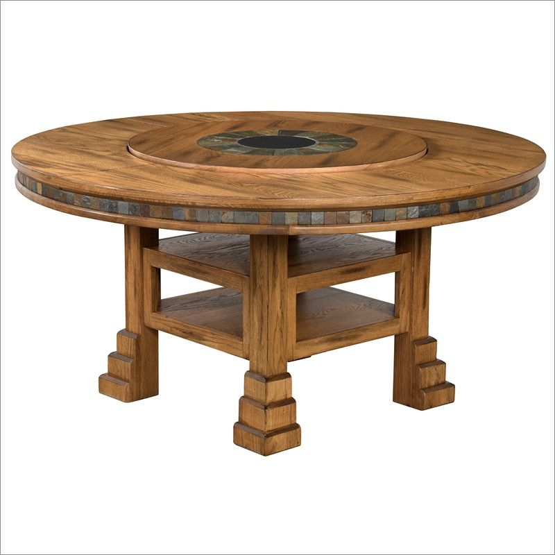 Sunny Designs Sedona Inch Round Dining Table With Lazy Susan In - 60 inch rustic dining table