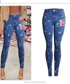 New Fashion Vetement Femme 2017 Spatter Spot Push up Skinny Jeans With Embroidered Women Jeans Plus Size Calca Jeans Feminina