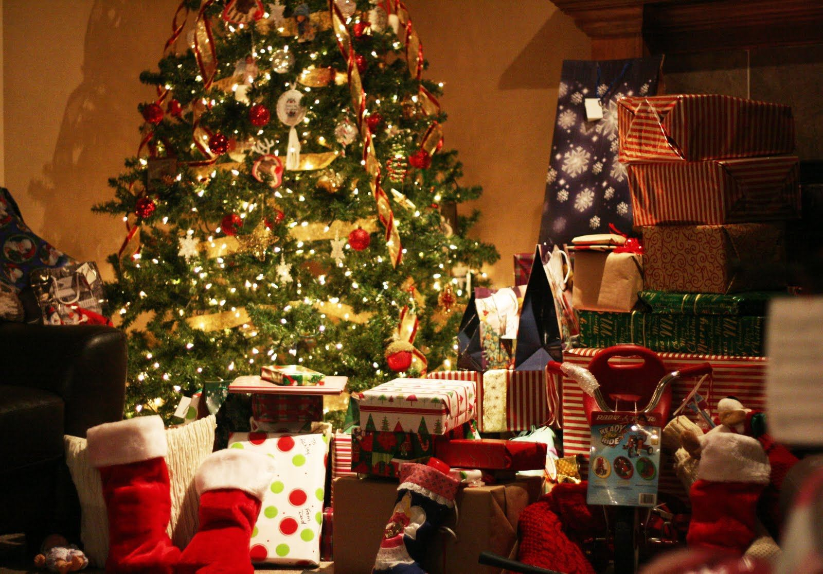 Image result for christmas tree with gifts under it