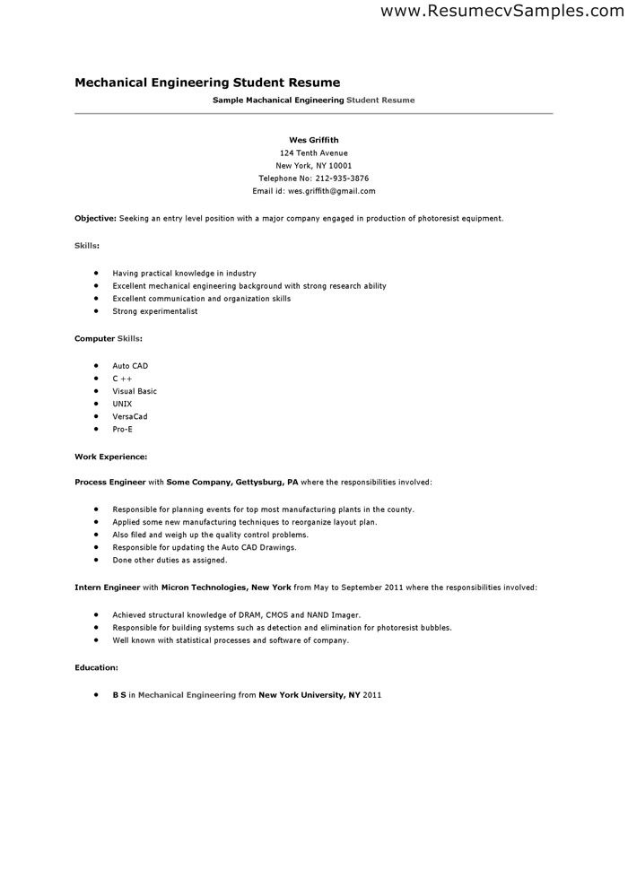 mechanical engineering student resume photos