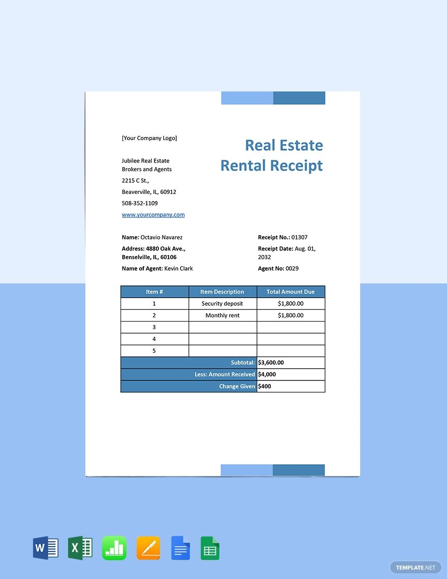 Real Estate Rental Receipt Template Free Pdf Word Excel Apple Pages Google Docs Google Sheets Apple Numbers Receipt Template Real Estate Rentals Google Sheets