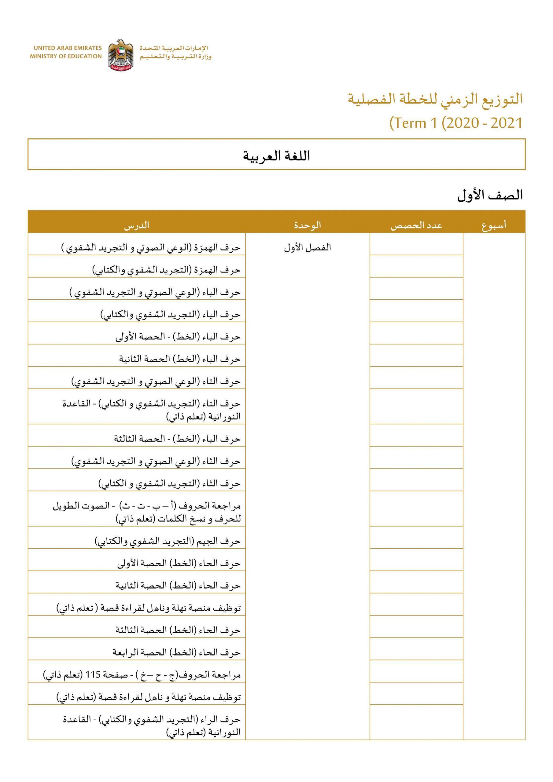 التوزيع الزمني للخطة الفصلية 2020 2021 للصف الاول الى الثاني عشر مادة اللغة العربية United Arab Emirates The Unit Education