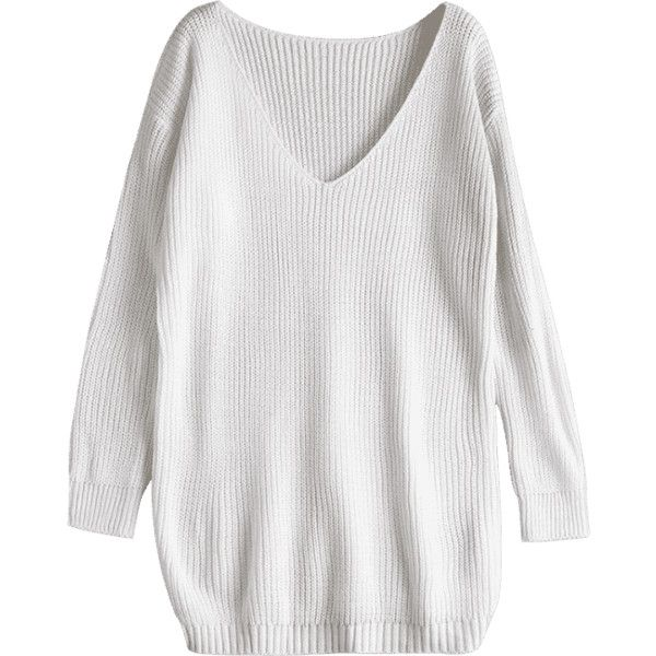 Oversized V Neck Chunky Sweater White ($24) ❤ liked on