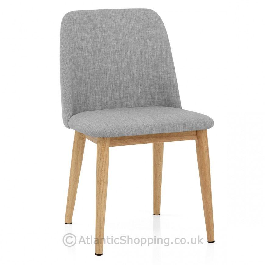 Elwood Oak Dining Chair Light Grey Fabric Atlantic Ping