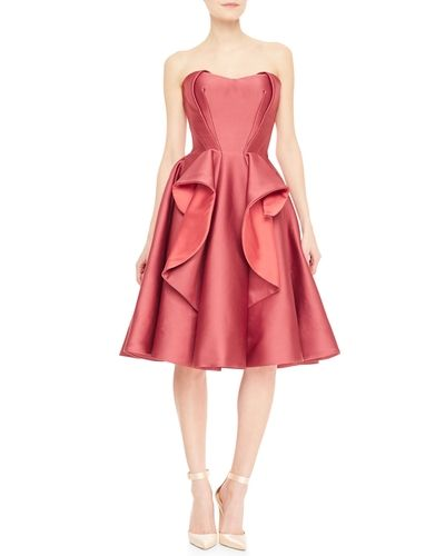 Strapless Satin Ruffle Flared Cocktail Dress, Rose - Zac Posen from Neiman Marcus on Catalog Spree