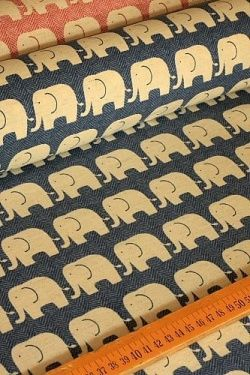 Photo1: Brushed Canvas - Japanese Fabric Kokka Cotton Linen Blended - Elephant