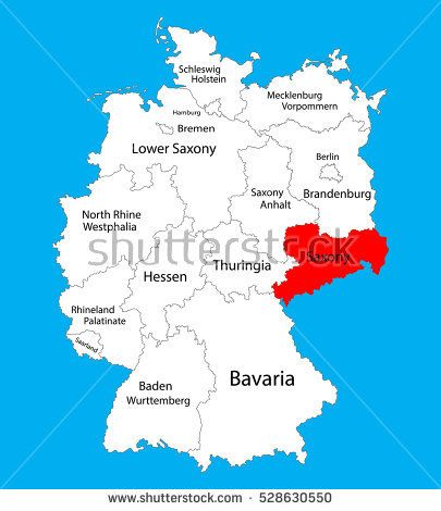 Sachsen map Saxony state Germany vector silhouette illustration