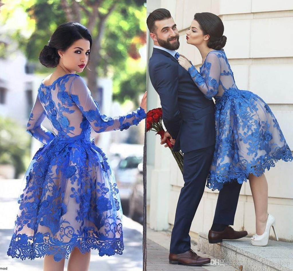 New royal blue long sleeves lace arabic cocktail dresses scoop knee