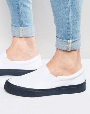 asos slip on plimsolls in white with navy sole  mens slip