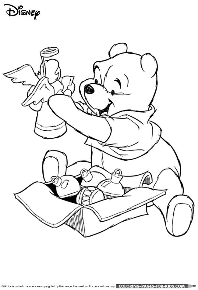 Winnie the Pooh Christmas coloring page