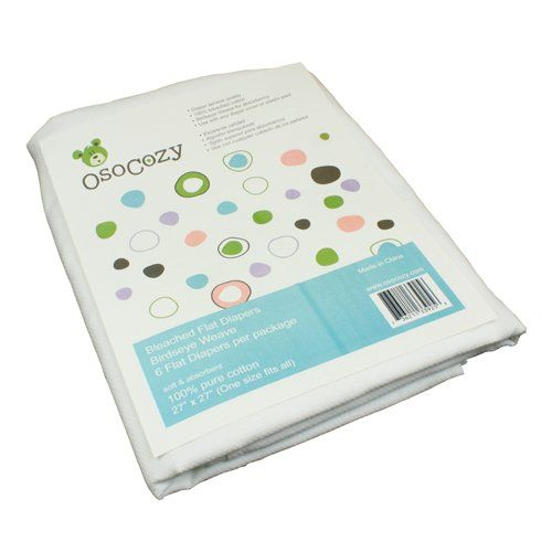 OsoCozy 6 Pack Birdseye Flat Bleached Diapers