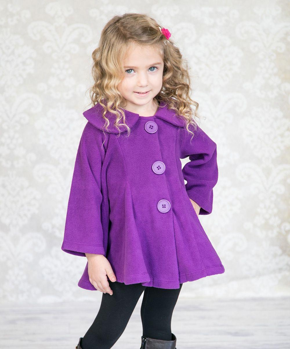 Purple mackenzie fleece swing coat infant toddler u girls