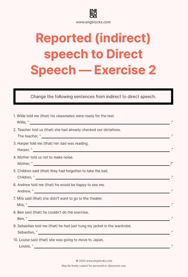 small resolution of Reported (indirect) speech to Direct Speech — Worksheet 2   English Grammar