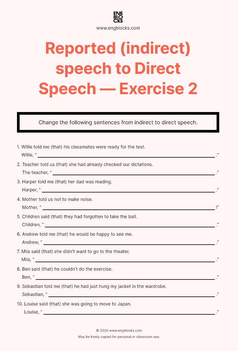 Reported (indirect) speech to Direct Speech — Worksheet 2   English Grammar [ 1178 x 800 Pixel ]