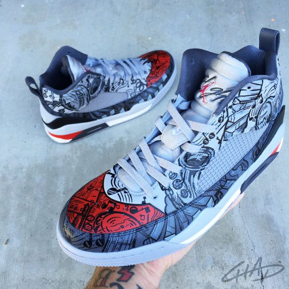 91041ea560594a Hey Mr. DJ Custom hand painted Jordans by ArtOfTheSole on Etsy ...