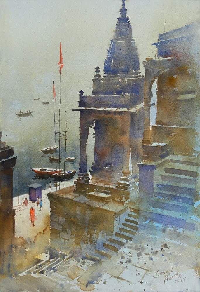 Prafull Sawant Indian Art Paintings Watercolor Landscape Paintings Watercolor Indian