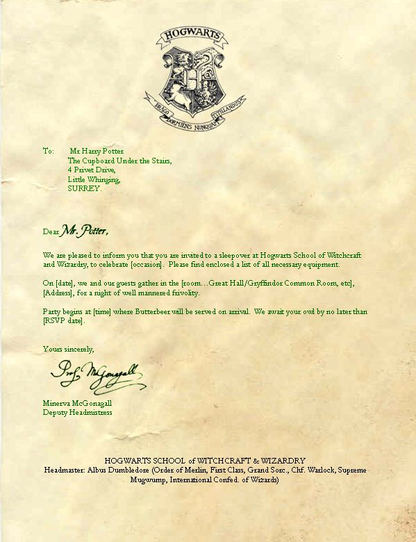 Unusual image pertaining to harry potter acceptance letter printable