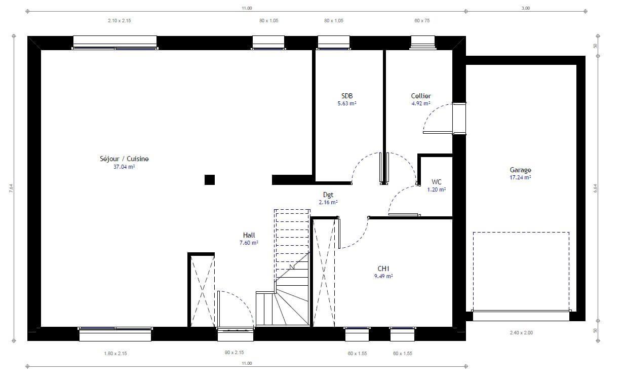 5301780e8c4c3 Plan 1 de la maison individuelle Habitat Concept 69