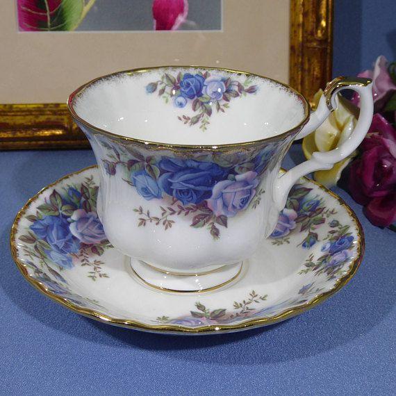 Royal Albert Moonlight Rose Coffee Mug Blue Rose Mug Royal Albert