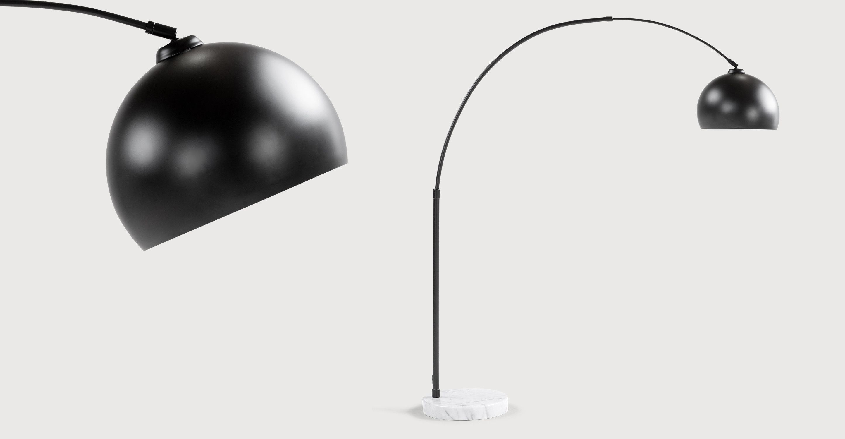 Ongebruikt Bow grote staande lamp, matzwart en marmer   Black floor lamp BH-26