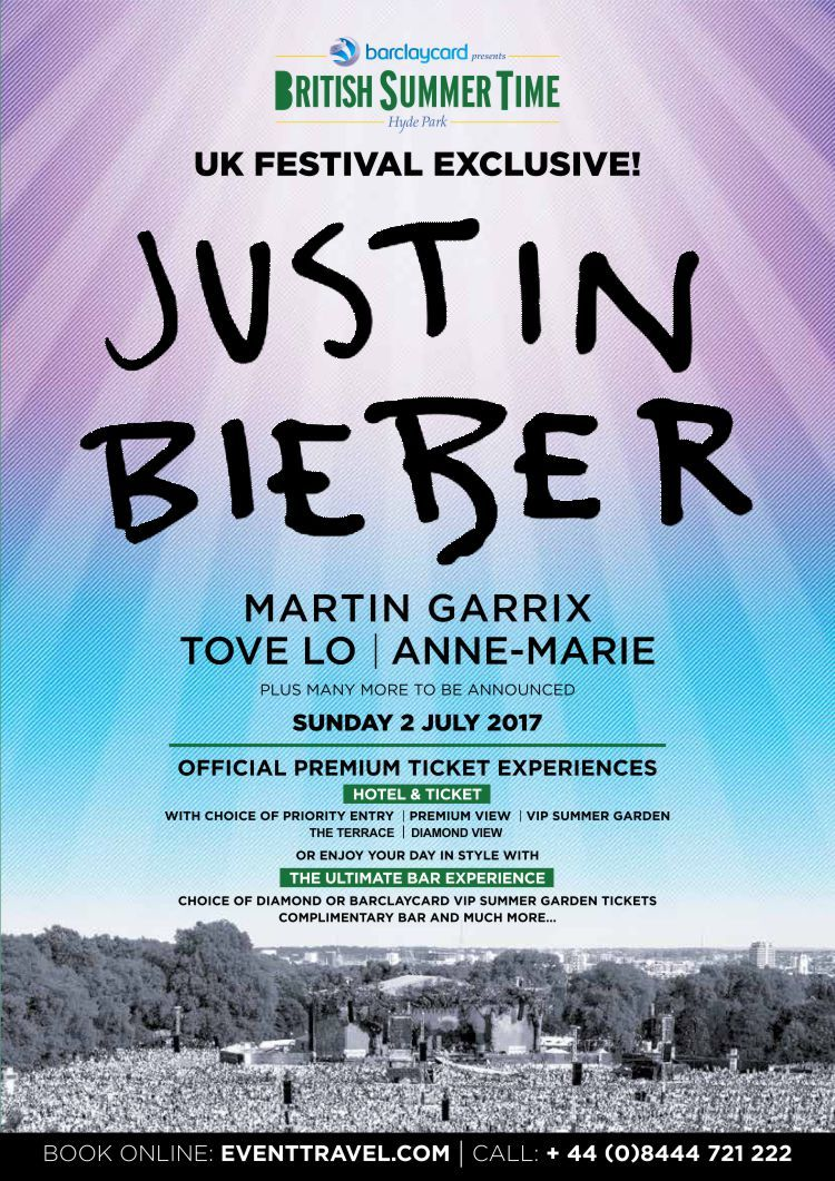 Justin bieber comes to london and a uk festival exclusive for justin bieber comes to london and a uk festival exclusive for british summertime hyde park on sunday 02 july 2017 amazing justin bieber tickets including m4hsunfo