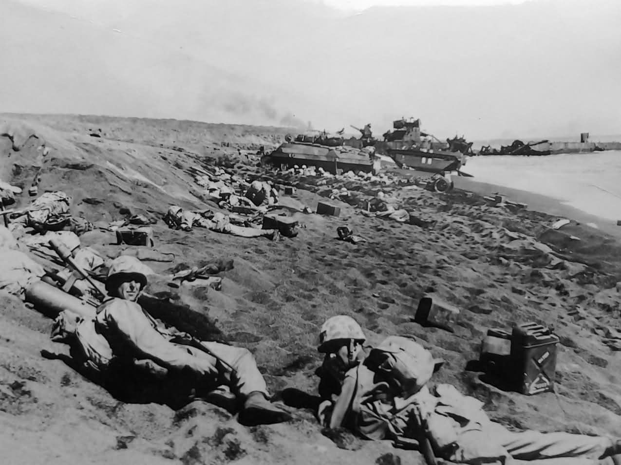 4th Division Marines Iwo Jima beachhead   Iwo Jima ...  Usmc