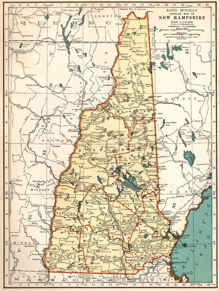 littleton new hampshire map Details About 1939 Antique New Hampshire Map State Map Of New littleton new hampshire map