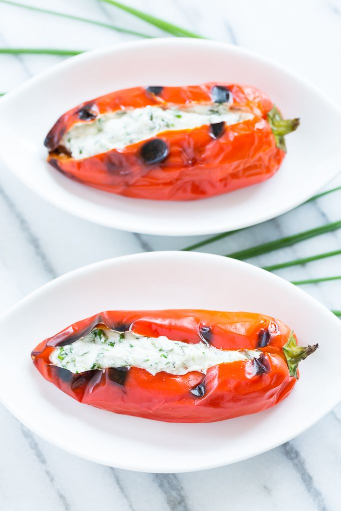 Grilled Sweet Peppers Stuffed with Herbed Goat Cheese | GI 365
