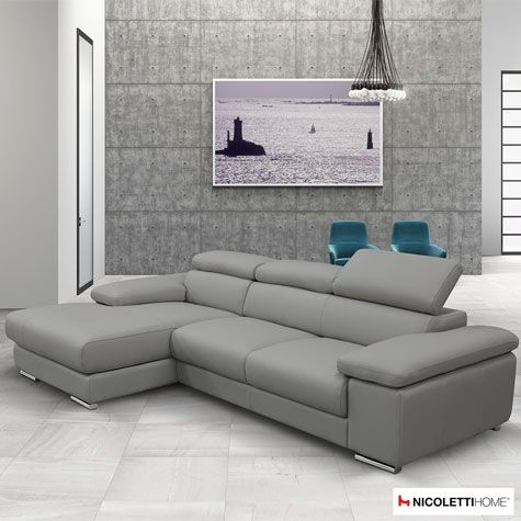 Nicoletti Lipari Grey Leather Sofa Chaise, Left-facing ...