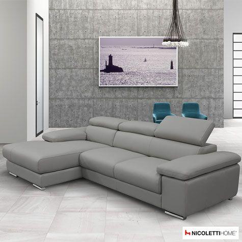 Nicoletti Lipari Grey Leather Sofa Chaise Left Facing Costco Uk
