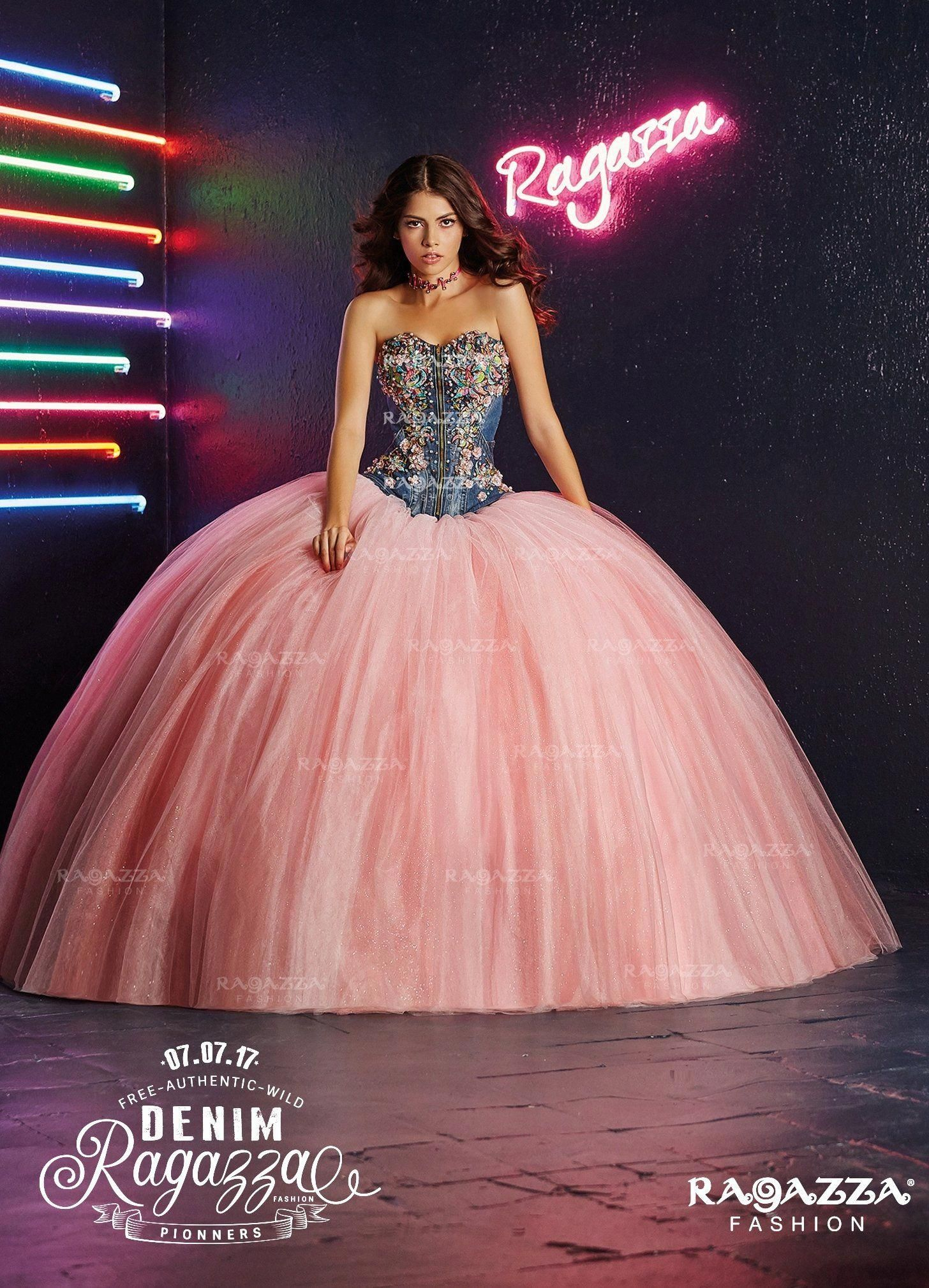 5bd536458bc Floral Denim Quinceanera Dress by Ragazza Fashion B92-392   prettyquinceaneradresses