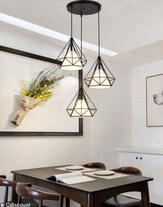 suspension cage forme diamant contemporain 25cm 110 221v corde ajustable luminaire salle. Black Bedroom Furniture Sets. Home Design Ideas