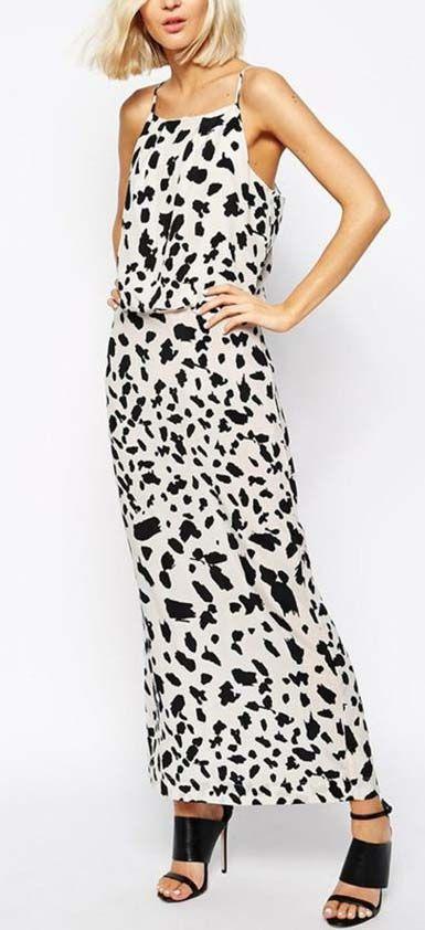 Just Female Late Maxi Dress In Leopard Print