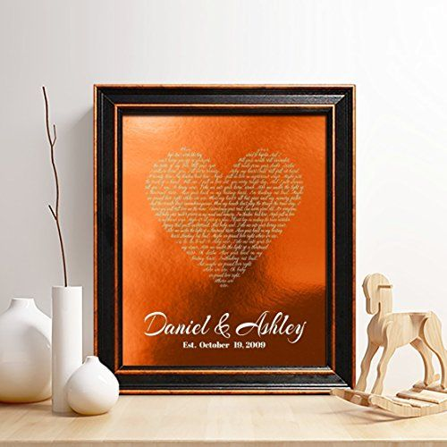 Personalized 7th or 22nd Copper Anniversary Gift for Him or Her First dance song Copper Print 7 Years Together any Text,Gifts for Husband and Wife Wedding Vow Copper Print