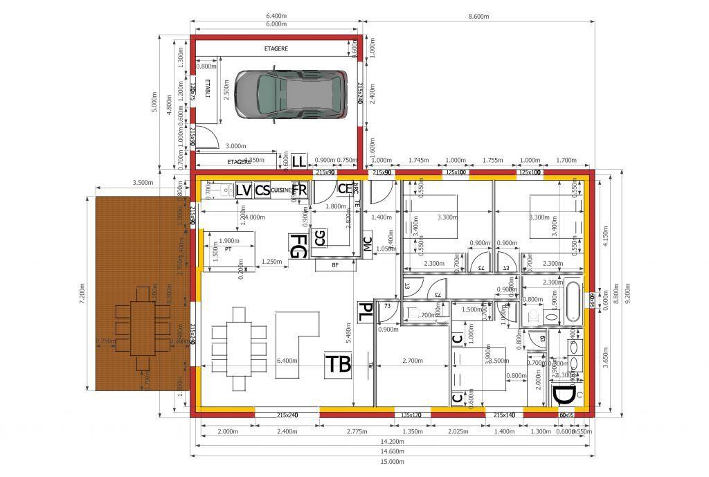 Maison Ouchy - Plan de maison Traditionnelle par Archionline - plan de maison sur terrain en pente
