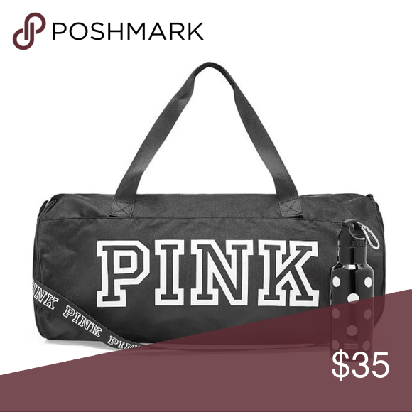 NWT Victoria s Secret PINK Logo Duffle Bag -Black NWT Victoria s Secret  PINK Logo Duffle Bag - Pure Black   Water Bottle Product Details Pure Black  This ... bff6701090949