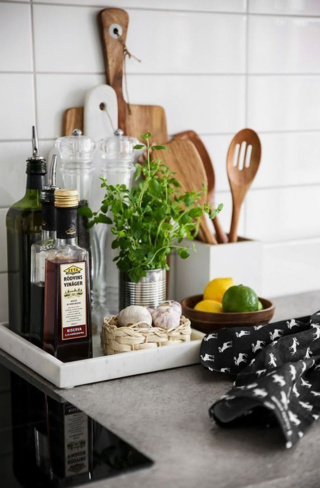 Organized Kitchen Counters Trayed Oils Etc Kitchen Counter Decor Kitchen Styling Kitchen Remodel Small