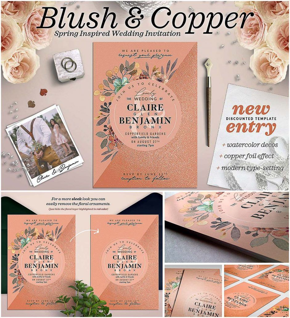 Blush Copper Wedding Invitation Free Download Free Wedding Invitation Templates Free Wedding Cards Wedding Cards