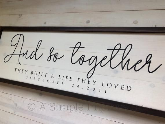 Custom Wedding Large Sign And so together they built a life they loved sign | Distressed Wood Sign | Modern Farmhouse Decor | Wedding Decor