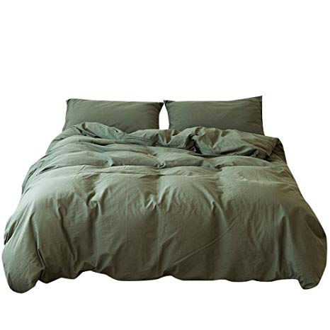 Amazon Com Mkxi Bedding Sets Dark Green Natural 100 Washed Cotton Duvet Cover Set With Zipper Cloure Solid C Duvet Cover Sets Bedding Sets Cotton Duvet Cover