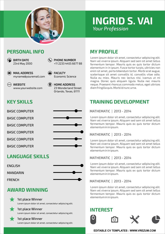 Editable free cv templates for university student cv