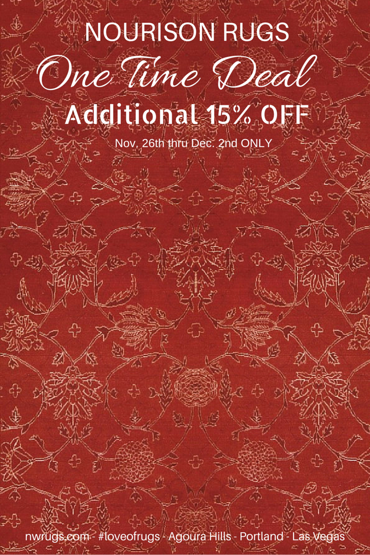 Thanks to Nourison Industries for sponsoring this one time bargain for our clients, friends & fans. 350+ rugs on sale - all styles & sizes. Click photo to see all collections with reduced pricing! - http://nwrugs.com/collections/nourison-15-off-sale  ‪#‎loveofrugs‬ ‪#‎shopsmall‬ ‪#‎smallbusinesssaturday‬ ‪#‎rugs‬ ‪#‎blackfriday‬‪#‎cybermonday‬ ‪#‎agourahills‬ ‪#‎portland‬ ‪#‎lasvegas‬ ‪#‎home‬ ‪#‎decorating‬