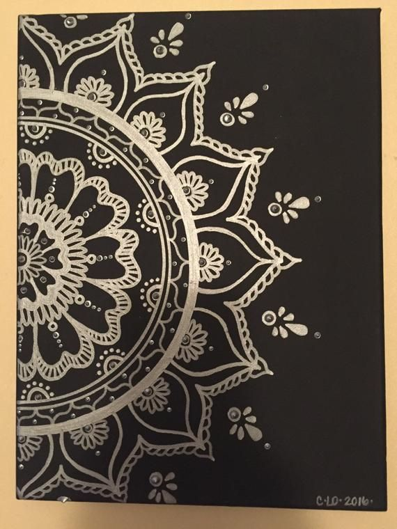 Silver Mandala/canvas/black and silver/henna art #mandala
