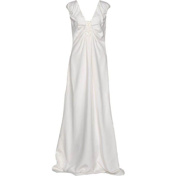 Valentino Long Dress ($2,675) ❤ liked on Polyvore featuring dresses, ivory, white ruffle dress, sleeveless dress, winter white dress, long ruffle dress and white sleeveless dress
