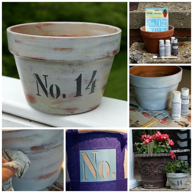 How to age a Terra Cotta Pot with Chalky Finish paint ...