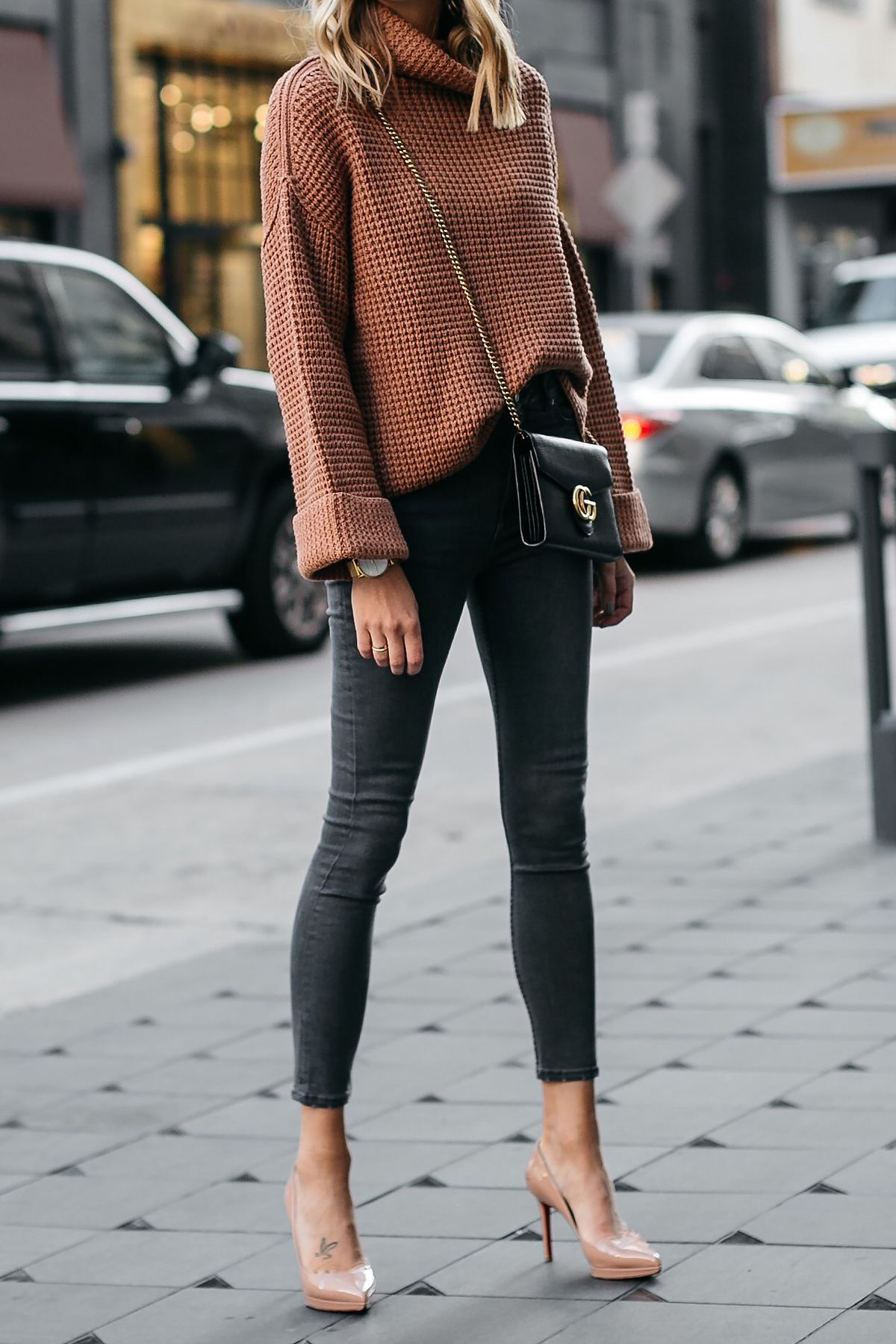 1c55c3e6f4c Fashion Jackson Oversized Sweater Free People Park City Pullover Tan Sweater  Grey Skinny Jeans Nude Pumps Gucci Marmont Handbag