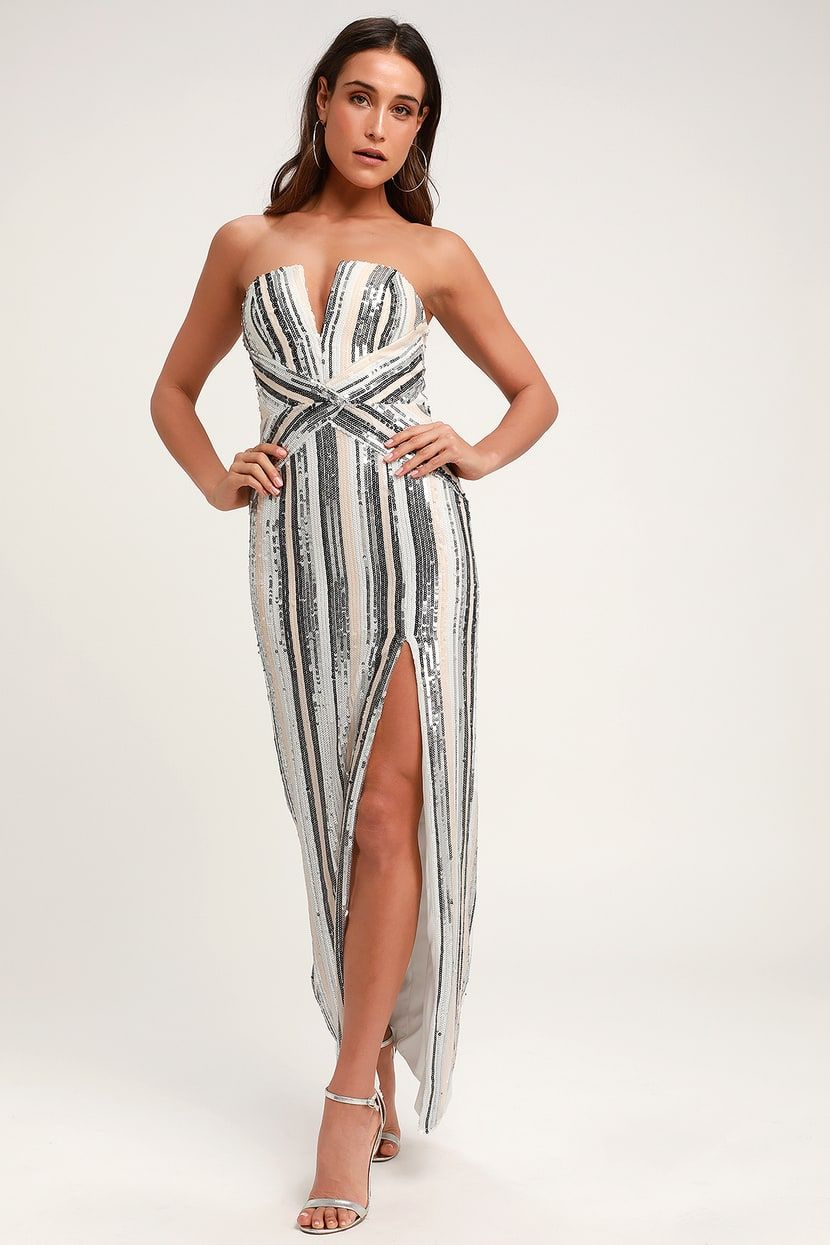 b3ea50dd9781 Lulus | Glenda Silver Multi-Striped Strapless Sequin Maxi Dress ...