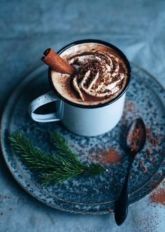 Hot chocolate with cinnamon and orange liqueur