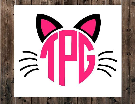 Cat Monogram Decal Kitty Cat Mongram Decal Cat Monogram YETI - Vinyl decal cat pinterest
